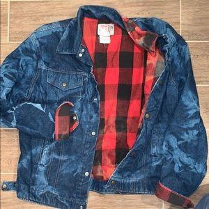VINTAGE flannel and denim oversized jean jacket